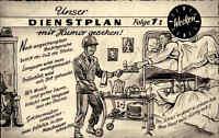 """Militaria Militär 1961 Soldaten Humor AK Dienstplan Folge 1 """"Wecken"""" Postkarte"""