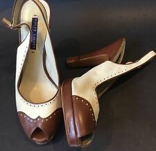 Ralph Lauren Collection Purple Label Designer Shoes Peep Toe Platform Heel 9.5