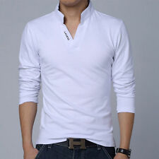 New Men's POLO Neck Long Sleeve T-Shirt V Neck Casual Tee Tops T-shirts M-2XL