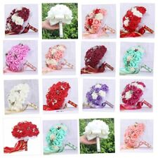 Artificial Rose Flower Bouquet Wedding Bride Holding Flowers Ribbon Rose Flower