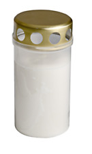 White & Gold Grave Candle 13cm Memorial Gift