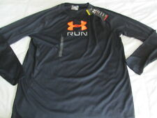 NEW Mens UNDER ARMOUR RUNNING Long Sleeve Black w/ Orange UA Logo LG FREE SHIP!