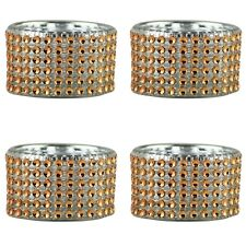 Pack of 4 - Decorative Amber Diamante Jewelled Tea light Candle Holders Holder