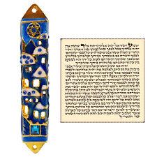 Jerusalem Mezuzah Case with Scroll For Door Blue Enamel Israel Judaica Gift 8 cm