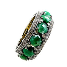 4.65ct Emerald Gemstone Diamond Pave Fashion Band Ring Sterling Silver Jewelry