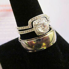 Micro Paved 2 Ring Wedding 5-13 Titanium Polished Dome & Her Silver Halo