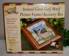 ~~STAINED GLASS GOLF MOTIF PICTURE FRAME/ACCESSORY BOX~