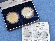 2000 California Sesquicentennial Proof .999 silver medal set of 2 + COA B8618