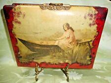 Antique Victorian LADY IN BOAT Celluloid & Velvet Album, 42 Photos Phili, PA Fam