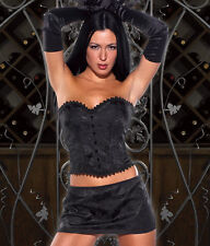Sexy Lingerie Coquette Black Strapless Brocade Bustier Corset w Hook-and-Eye