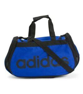 Adidas Diablo MEDIUM Duffel CORE TRAVEL Bag BLACK BLUE 2 EXTERIOR POCKETS NEW