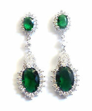 ANY DAY GIFT BOXED 24K WHITE GOLD FILLED FACETED EMERALD TEAR DROP EARRINGS*