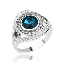 Shiny Ink Blue Round Crystal Silver Circle Large 18 mm size Q Unisex Ring FR282