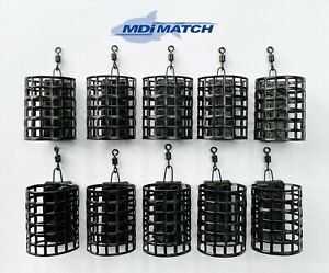 Pack of 10 MDI Match 25g Round Metal Wire Cage Swim Feeders with Swivel