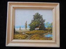 Cuadro al óleo con marco de madera, pintado a mano, paisaje (Mi Artículo N º 14)
