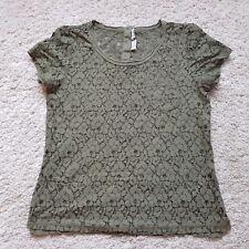 CB/30 Ladies H&M LOGG Top Khaki Floral Lace Short Sleeve Cotton Blend Size UK 10