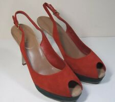 Yves St. Laurent YSL Sling Back Peep Toe Pumps Shoes Red Suede 39.5 US Size 9