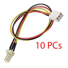 "Lot of 10 PCs 3 Pin Fan Extension Cables 9"" Long 12V Male to Female 9 Inch"