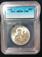 1955 Franklin 50 Cent Silver Half Dollar MS 64+ FBL ICG Certified Bright White