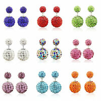 10Colors Fashion Women Double Sided Crystal Beads Two Ball Ear Stud Earrings New