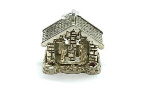 Vintage Sterling Silver Weather House with Moving Figures & Red Crystals Charm