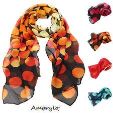 Foulard écharpe mousseline pois couleur feu Jaune Rouge Orange