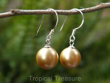 10mm GOLD Shell Pearl  Ear-ring Set - 925 Solid Silver hooks