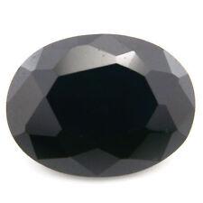 Grande 18x13mm Facetado Oval Negro Intenso Circonita Cúbica piedra preciosa