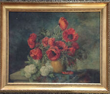 Stunning Max Streckenbach (1863 - 1936) Litho Print Red Poppies in Vase c 1920s