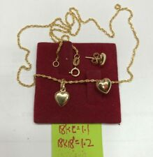 Gold Authentic 18k gold earrings and necklace