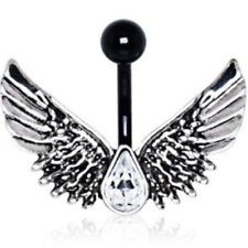 Faded Angel Wings Belly Ring 14G Navel Jewelry (316L Stainless Steel/Black Pvd)