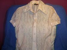 REBAJAS Madeline preciosa blusa camisa encaje y cristalitos perlas,S M 36,38,40,