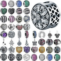 European 925 silver Pave crystal charms bead for sterling bracelet bangle chain