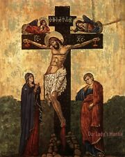 8x10 Vintage 1985 Religious Art Icon Print Picture THE CRUCIFIXION