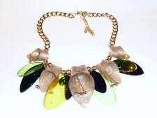BOLD STATEMENT NECKLACE - STYLISED MARBLED BEIGE FLOWERS - FREE UK P&P....T126