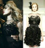Oscar de la Renta Tulle Embroidered Black Cocktail Evening Dress IT 42 / US 6