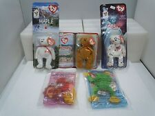 McDONALDS PLUSH TY BEANIE BABY ANIMALS LOT Vintage Sealed Bear Rooster Frog