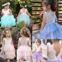 Canis Toddler Kids Baby Girls Lace Tulle Pageant Party Bridesmaid Wedding Dress