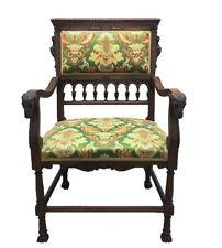 Antique Scandinavian Fireside Chair Ramshead & Mermaid~Siren~Hand Carved~1880's