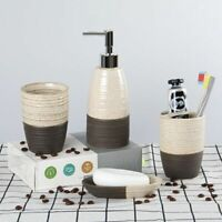 Ceramic Bathroom Accessories Including Lotion Bottle Toothbrush Holder 4 Piece
