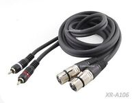 6ft. Dual XLR Female to 2-RCA Male Plug Interconnect Cable, CablesOnline XR-A106