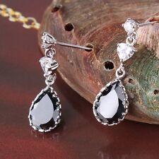 Lovely 18k white gold filled WOMAN Absorbing black sapphire dangle earring