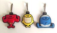 Mr Men Set Of 3 Zip Puller Key Ring Bag Charm - Mr Bump Mr Happy Mr Strong Set