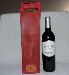 WILL 100%Leather Wine Bottle Travel Carry-Red color-Single Bottle-Nice condition