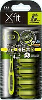 KAI Xfit Disposable 5-Blades 3D Shaving Razor Holder & 4-Refills Made In Japan