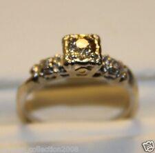ESTATE! SZ6.5 CHAMPAGNE 14k VINTAGE WHITE GOLD DIAMOND RING! 3 STONE! MUST SEE!