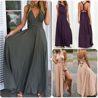 Multi Way Dress Convertible Women Bridesmaid Maxi Full Length Wrap Party NEW