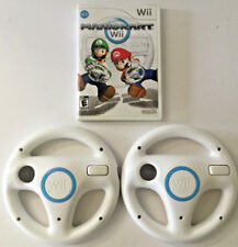 MARIO KART Wii + 2 Wii WHEELS (Nintendo Wii, 2008) GAME COMPLETE RACING LOT