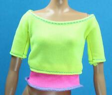 Barbie 2016 Made To Move Knit Stretch Yellow Pink Pullover Yoga Shirt