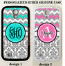 GREY DAMASK TEAL PINK CHEVRON MONOGRAM Case For Samsung Galaxy S9 S8 S7 NOTE 9 8